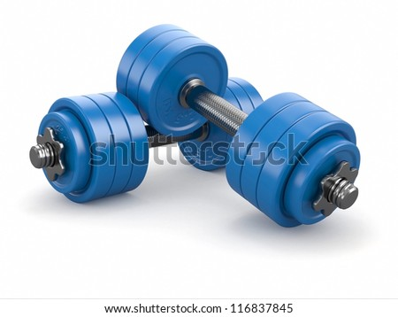 Iron dumbbells weights on white background. 3d