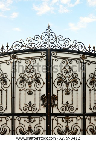 iron gate with wrought ornament on it - stock photo