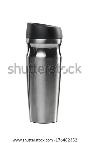 Iron gray thermos isolated on white background - stock photo