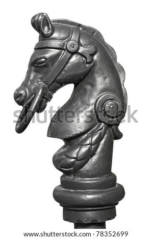 Iron horse sculpture isolated on white - stock photo