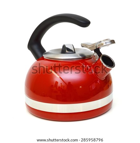 Iron Kettle Kitchen, isolated on white background - stock photo
