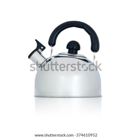 iron kettle with whistle isolated on white