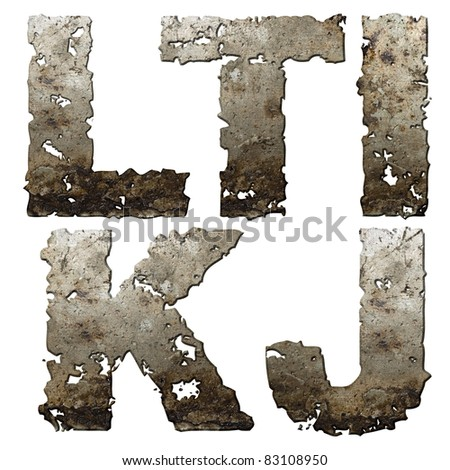 Iron letters with torn edge isolated on white background (series). - stock photo