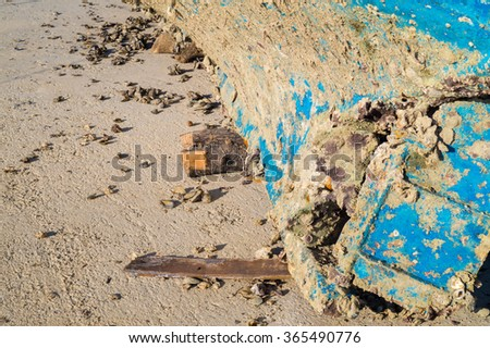 Iron made rusty lead screw of and old timber ship - stock photo