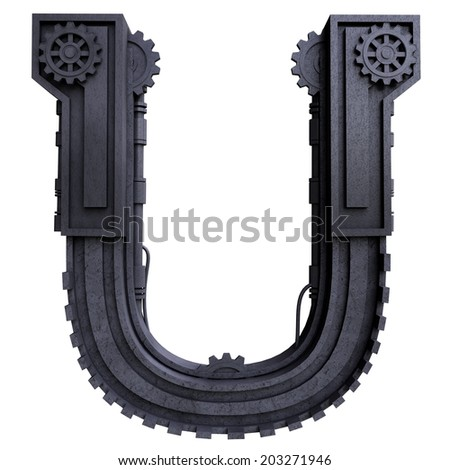 Iron mechanical black letters scratched metal on a white background. Letter u - stock photo