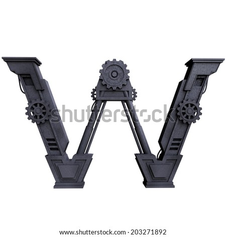 Iron mechanical black letters scratched metal on a white background. Letter w - stock photo