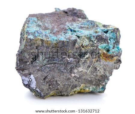 Iron ore isolated on white background - stock photo
