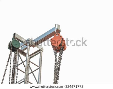 iron pulley on white background - stock photo