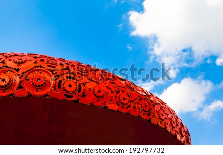 Iron red roof and sky - stock photo