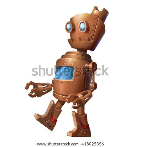 Iron Robot, Tin Man. Character Design isolated on White Background  - stock photo
