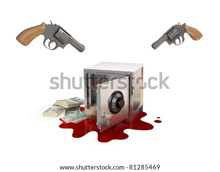 Iron safe, two revolvers, dollars and bloody stane. 3d rendered. Isolated on white background. - stock photo