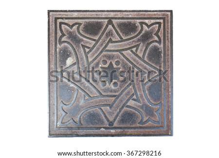 iron sidewalk tiles with the image of the Star of David