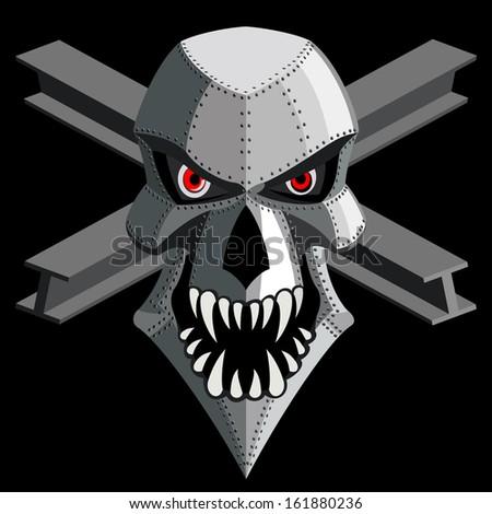 iron skull on black. - stock photo
