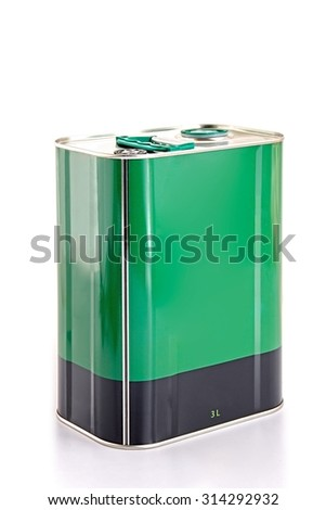 Iron square oil barrel on white background,