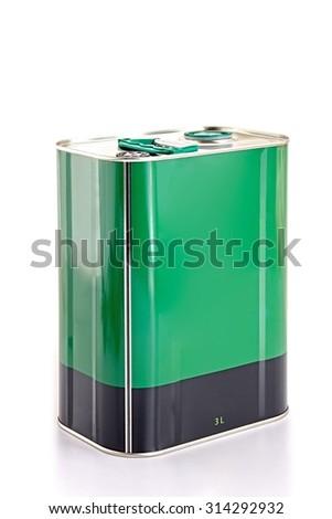 Iron square oil barrel on white background, - stock photo