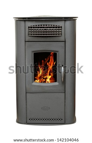 iron stove with burning wood fire isolated over white background - stock photo