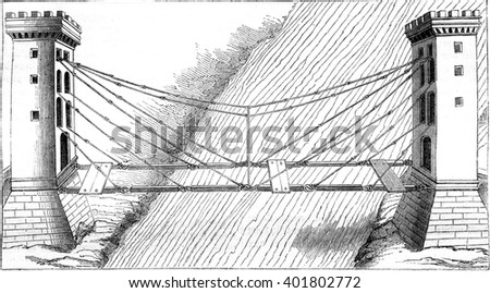 Iron suspension bridge chains, vintage engraved illustration. Magasin Pittoresque 1847.