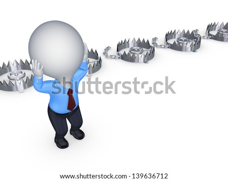 Iron traps and worried 3d small person.Isolated on white.3d rendered. - stock photo
