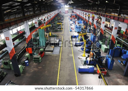 iron works steel and machine parts modern factory indoor hall - stock photo