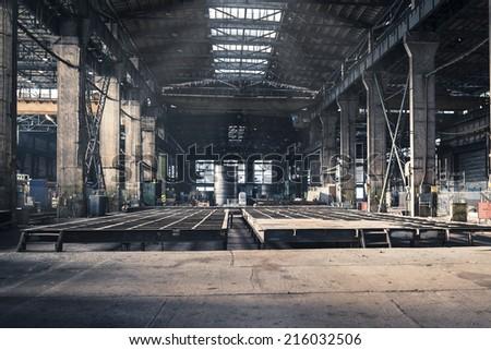Iron workshop of shipyard - stock photo