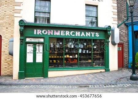 IRONBRIDGE, ENGLAND - JULY 3. The Blists Hill Museum features many Victorian shop fronts set in recreated streets and is a popular tourist attraction. July 3 2016 in Ironbriidge, England.     - stock photo