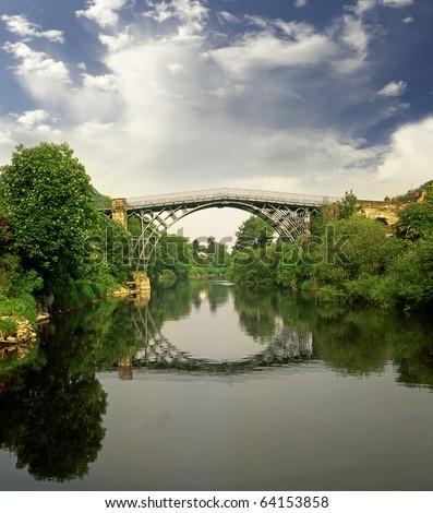 Ironbridge over the river Severn in Telford England, UNESCO - stock photo