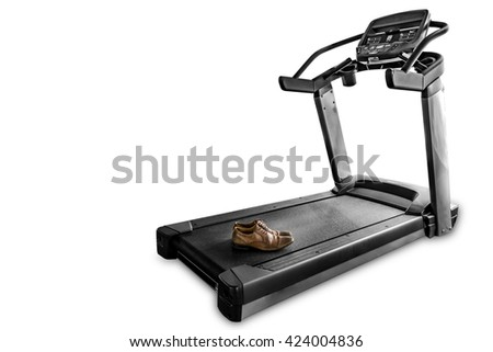 Ironic concept: Leather shoes on an isolated treadmill. Dramatic and color accent effect