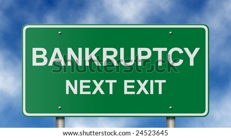 Ironic freeway exit sign with a business and personal finance theme. - stock photo