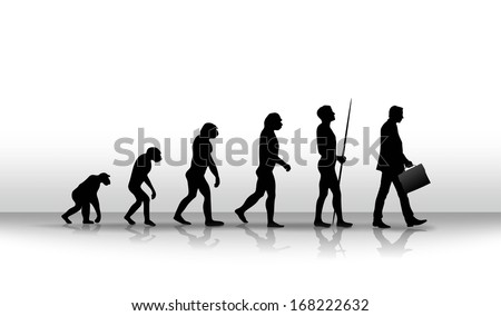ironic illustration of human evolution up to modern times - stock photo