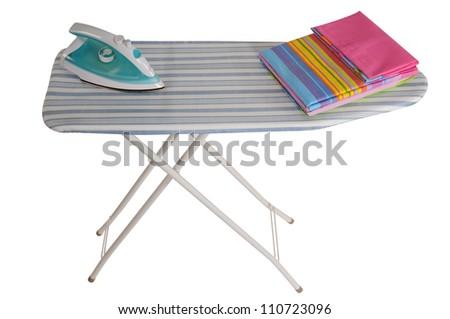 Ironing board. Isolated over white background. - stock photo