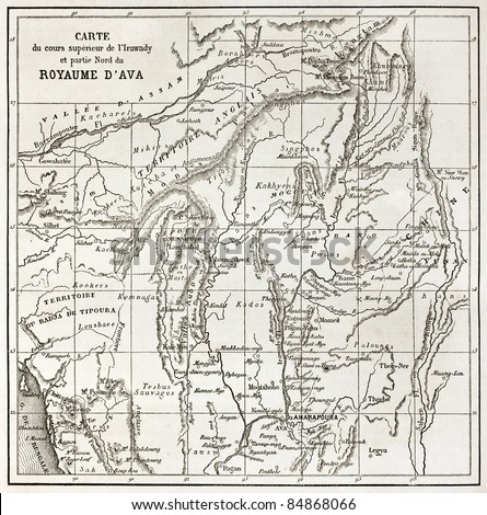Irrawaddy river northern course old map (Ava Kingdom). Created by Erhard, published on Le Tour du Monde, Paris, 1860