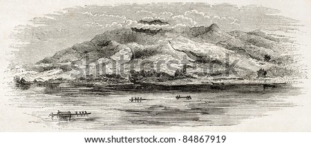 Irrawaddy river old view, Burma. Created by Yule, published on Le Tour du Monde, Paris, 1860 - stock photo