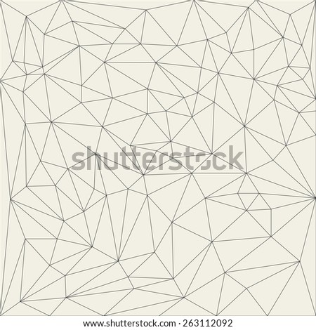 Irregular abstract linear grid triangle. Reticulated monochrome texture pattern illustration - stock photo