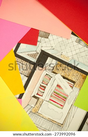 Irregular framing with different vibrant sheets of paper on watercolor aquarelle and ink floor plan partial corners of a bedroom, showing combinations in creative custom approach in design process