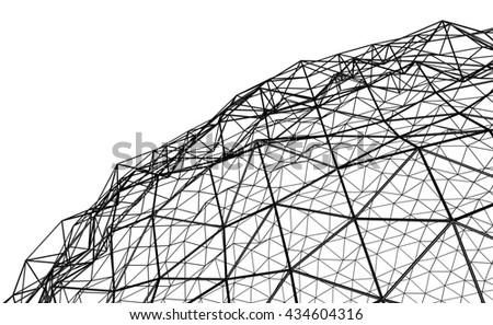Irregular spherical black grid on white background - stock photo