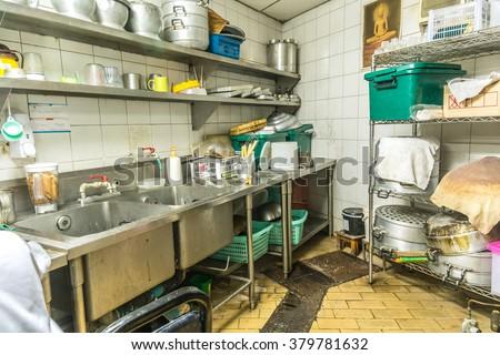 irregularity cuisine setting, dirty kitchen - stock photo