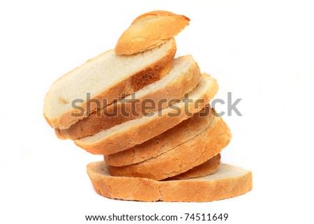 Irregularly set up sliced bread arrangement - stock photo