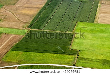 irrigated cropland, aerial view - stock photo