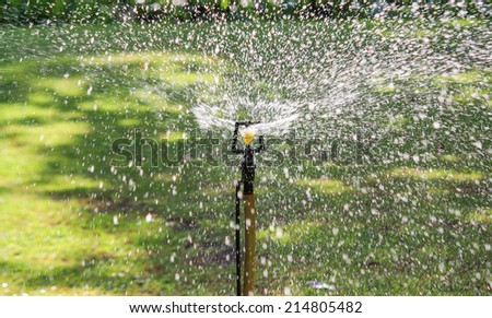 irrigation of agricultural field, water sprinkler - stock photo