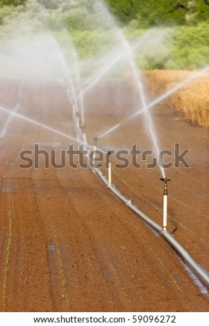 Irrigation system on a large farm field - stock photo