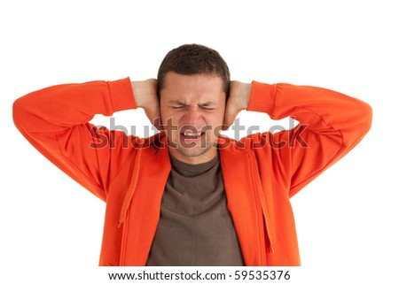 irritated, angry, furious man with hands on head - stock photo