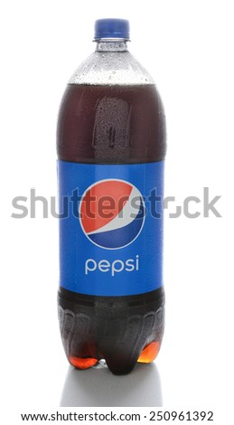 IRVINE, CA - FEBRUARY 7, 2015: A bottle of Pepsi. Pepsi is a carbonated drink first introduced in 1893 as Brad's Drink and renamed to Pepsi-Cola in 1898 and shortened to Pepsi in 1961. - stock photo