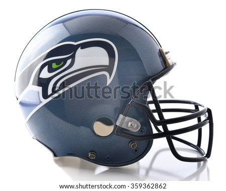 IRVINE, CA - JANUARY 6, 2015: Seattle Seahawks Football Helmet. The Seahawks are a team in the NFC West division of the National Football League (NFL). - stock photo