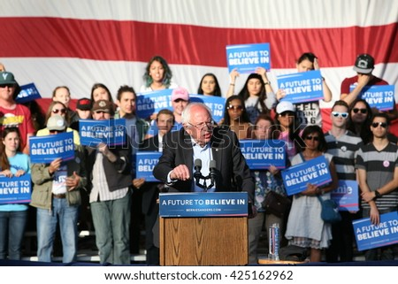 IRVINE, CALIFORNIA - May 22: Bernie Sanders speaks to the crowd in Irvine, California on May 22, 2016 - stock photo