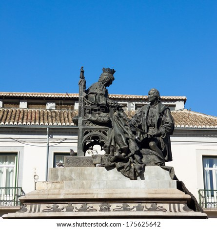 Isabela I with Christopher Columbus, monument was made by Mariano Benlliure in 1892, Granada Spain - stock photo
