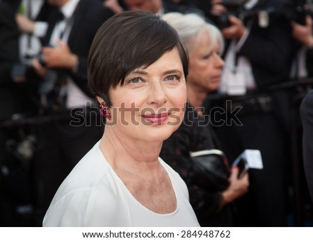 Isabella Rossellini attends the opening ceremony and premiere of La Tete Haute ( Standing Tall ) during the 68th annual Cannes Film Festival on May 13, 2015 in Cannes, France. - stock photo