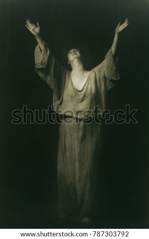 Isadora Duncan performed at the Century Theatre at West 60th Street, NYC, during WW1. This photo is one of a group made by Arnold Genthe at this time
