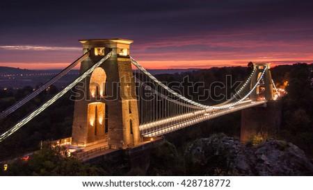 Isambard Kingdom Brunel's 19th century Clifton Suspension Bridge across the Avon Gorge in Bristol, England. - stock photo