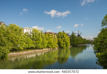 Isar in center of Munich, Germany