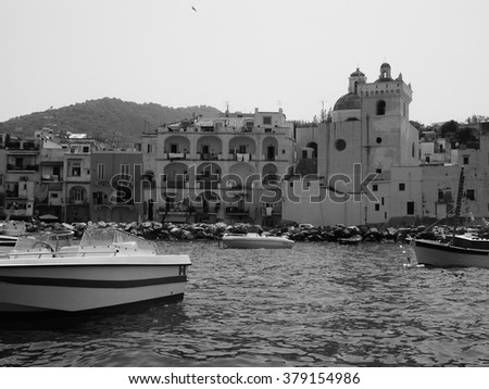 Ischia is the largest of the volcanic Phlegrean Islands in the Tyrrhenian Sea in the Gulf of Naples in Italy in black and white